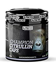 L-CITRULLIN Malate Capsules - 360 Caps hoge dosering + veganistisch - ALPHATIER CHAMPION L-Citrulline Malate DL 2:1 - Fitness en Bodybuilding - Premium kwaliteit zonder magnesiumstearaat