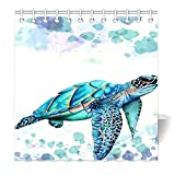 HommomH 72'' x 72'' Shower Curtain With Hooks Bathroom Anti-Bacterial Waterproof Comfortable Sea Turtle