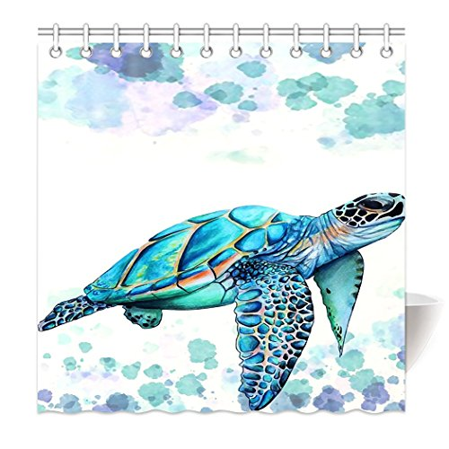 HommomH 72'' x 72'' Shower Curtain With Hooks Bathroom Anti-Bacterial Waterproof Comfortable Sea Turtle by ''HommomH''