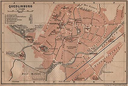 Map Of Germany 1900.Quedlinburg Antique Town City Stadtplan Germany Karte Baedeker