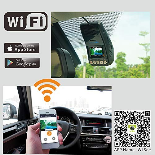 WLsee WS2 Car Dash Cam,1080p Dash Camera Recorder w//LCD Wide Angle Lens WiFi w//APP Ultra HD Night Vision 60fps Option WDR Full HD DVR Sony Sensor . Support Whole Night Parking Mode Record