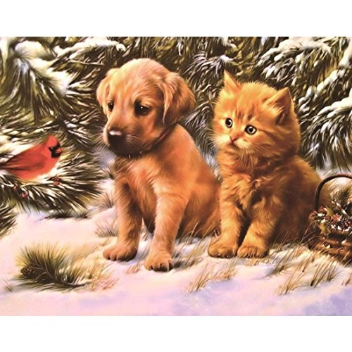 PocaBlife DIY 5D Embroidery Paintings Painting Cross Stitch Pet Cats and Dogs by (Multicolor)