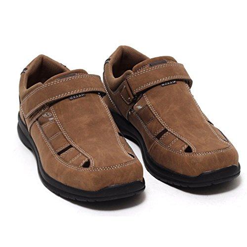 Herren Slipper Schuhe Sandalen Pantoletten Halbschuhe Bequemschuhe Freizeitschuhe Herrenschuhe halboffen Klettverschluss Leder Look COGNAC BRAUN