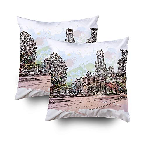- Shorping Soft Pillow Case, Zippered Covers Pillowcases 18X18Inch 2 Pack Throw Pillow Covers City in USA Watercolor Splash with Sketch Kentucky for Home Sofa Bedding