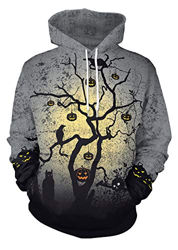 Halloween Costume Men's 3D Printed Pullover Hoodies Long Sleeve Pumpkins Pockets Sweatshirts Tree M ()