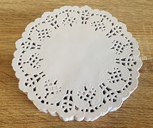Omin White Round Paper Doilies Lace Design 5.5 Inch with Aluminium Foil Zip Lock Bag Pack of 250