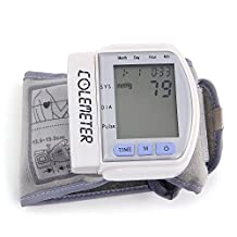 Skyllc® Automatic Blood Pressure Monitor Clinical Heart Rate Monitor with Large LCD Digital Display and Adjustable Wrist Cuff