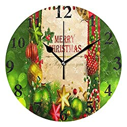 Ladninag Wall Clock Stylish Christmas Background Silent Non Ticking Decorative Round Digital Clocks Indoor Outdoor Kitchen Bedroom Living Room