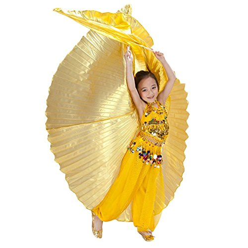 Isis Costume Wings (AvaCostume Exotic Children's Belly Dance Costume Isis Wings, Gold)