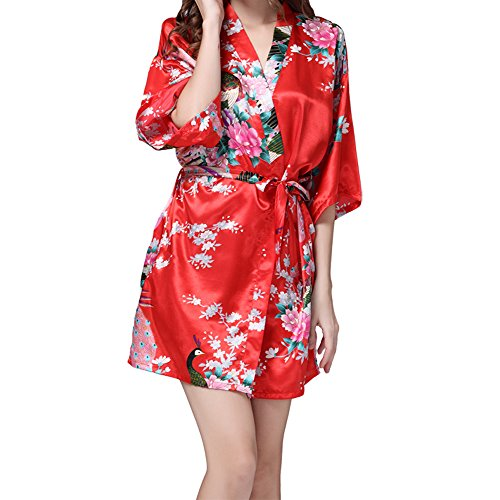 68837bd0d VILLAVIVI Vestido Párrafo Corto Mujer Kimono Pavo Flores Satén Albornoces  Pijamas ...