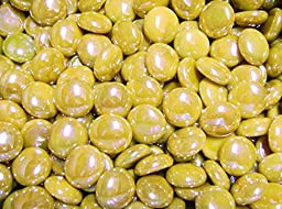 Creative Stuff Glass - 3 Lb - Opal Yellow Iridescent Glass Gems - Vase Fillers (17-19mm, Approx. 3/4'')
