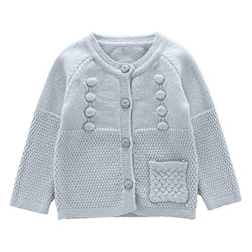 Moonnut Baby Girls Cardigan Sweaters Single Pocket Long Sleeve Soft Knitted Autumn Winter Outwear (4T, Blue)