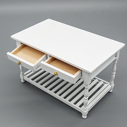 Odoria 1:12 Miniature White Kitchen Table with Storage Shelf and Drawers Dollhouse Furniture Accessories
