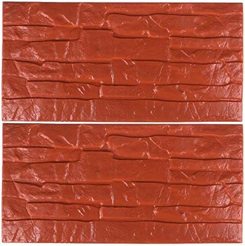 IMIKEYA 2ピース3dレンガ壁ステッカー防水peフォームペースト自己接着背景壁紙用ホームオフィスバールーム(30X60cm赤)