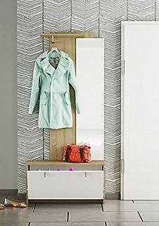 LIQUIDATODO ® - Recibidor vestidor con zapatero de 87 cm moderno y barato en blanco y