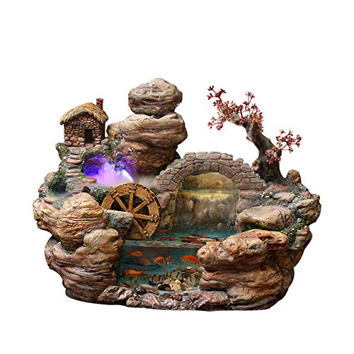 Creative Home Fountain Water Decoration Ornaments Living Room Tabletop Fish Tank Lucky Humidifier Folk Crafts   52x33x37cm, Decoration