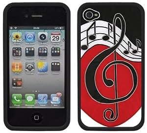 Music Note Handmade iPhone 4 4S Black Hard Plastic Case by Maris's Diary