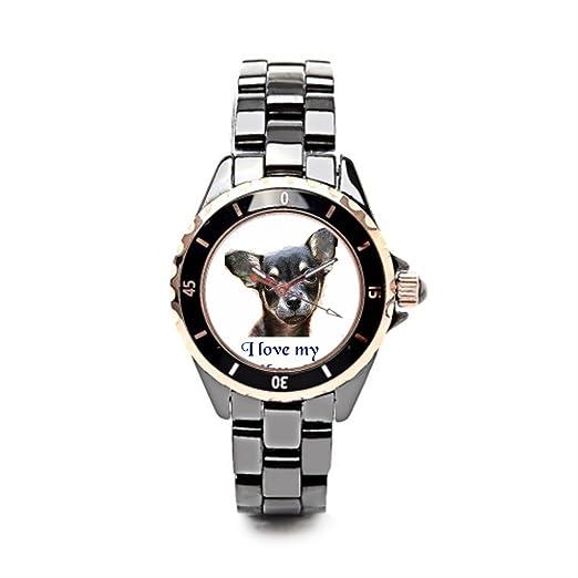 eleganceelegant correa de cerámica reloj Chihuahua reloj de lujo marcas negro/oro las mujeres: Amazon.es: Relojes