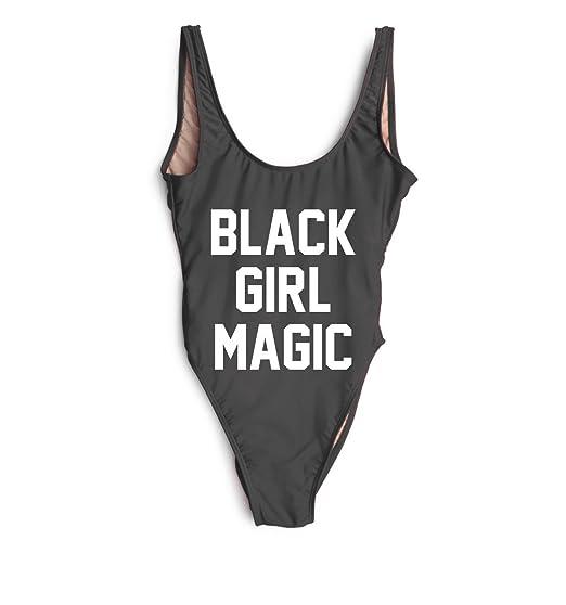 06a23dea2c shifeier Black Girl Magic High Cut Low Back One Piece Swimwear Bikini  Bathing Suits Swimsuits