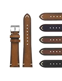 DASSARI Regal II Quick Release Vintage Italian Leather Watch Band Strap w/Hand Sewn Stitching 16mm 18mm 19mm 20mm 21mm 22mm 24mm 26mm