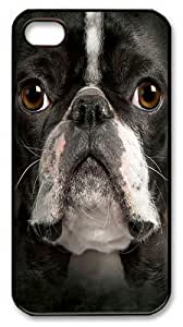 Big Face Boston Terrier Polycarbonate Hard Case Cover for iPhone 4/4S Black