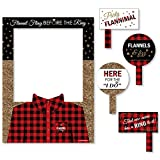 Flannel Fling Before The Ring - Buffalo Plaid Bachelorette Party Selfie Photo Booth Picture Frame & Props - Printed on Sturdy Material