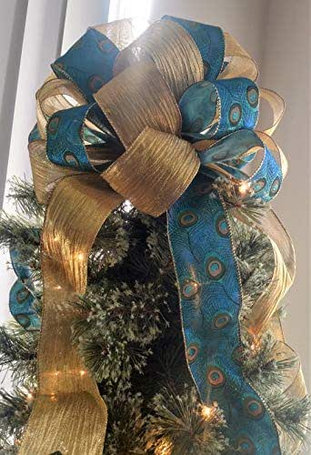Christmas Tree Topper Peacock Christmas Tree Topper Bow Holiday Decoration Bow 12 In Diameter X 9 High And 4 20 Long Streamers