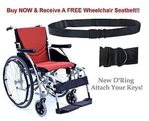 "New Karman S-Ergo 125 ( S-Ergo125F18SO ) Ergonomic Wheelchair with Flip-Back Armrest and Swing Away Footrest in Orange, Fixed Wheel, 18"" Seat Width & FREE Wheelchair Seatbelt!"