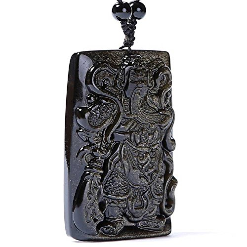 Natural Obsidian and Crafted Handmade Guanyu General Pendant Bringing wealth and good luck (A)