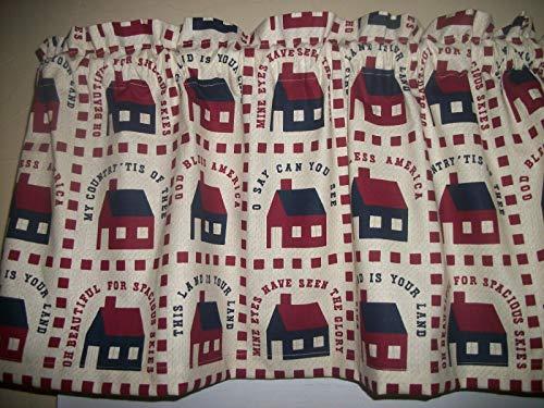 (Saltbox House Folk-Art Americana Patriotic fabric kitchen curtain topper Valance)