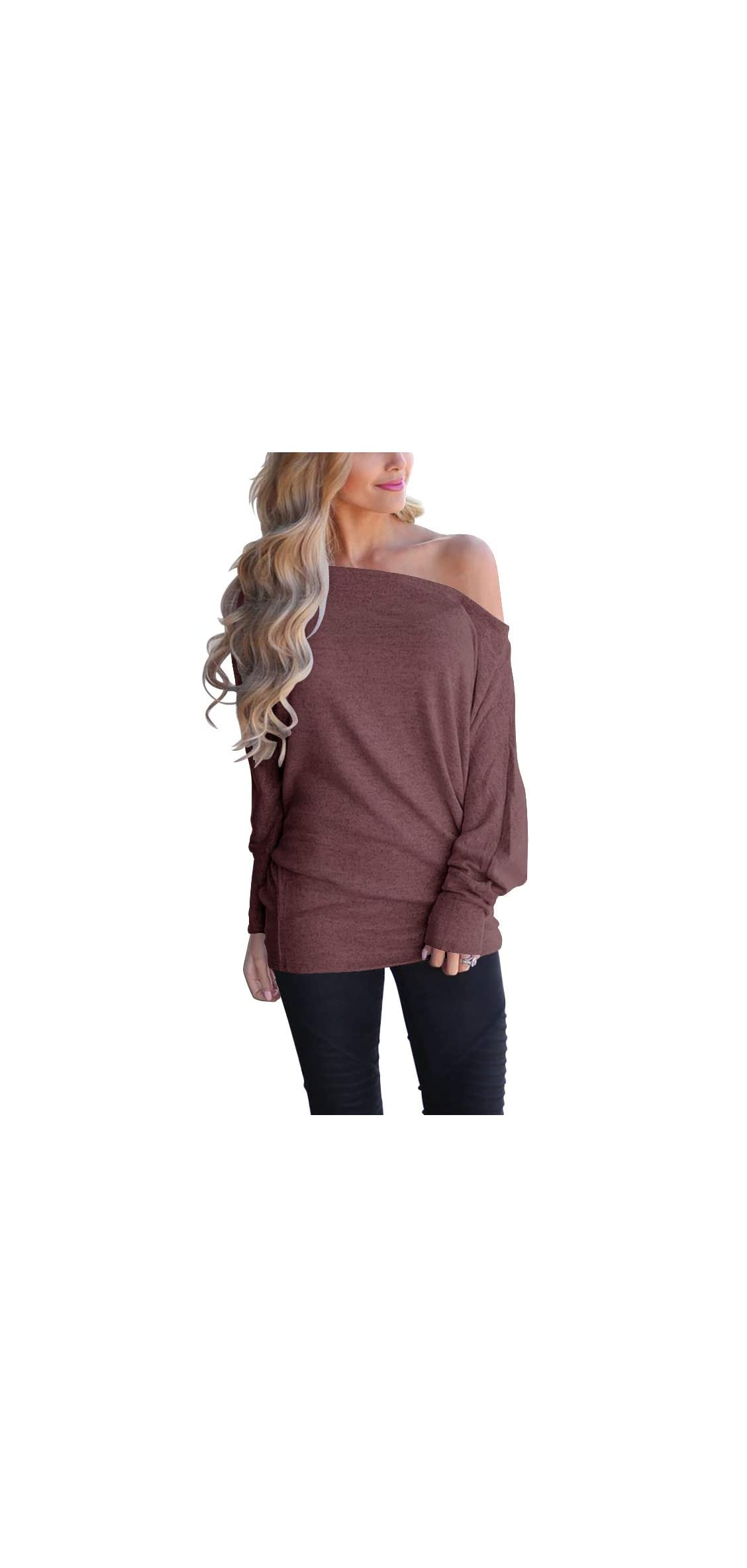 Women's Off Shoulder Loose Pullover Sweater Batwing Knit