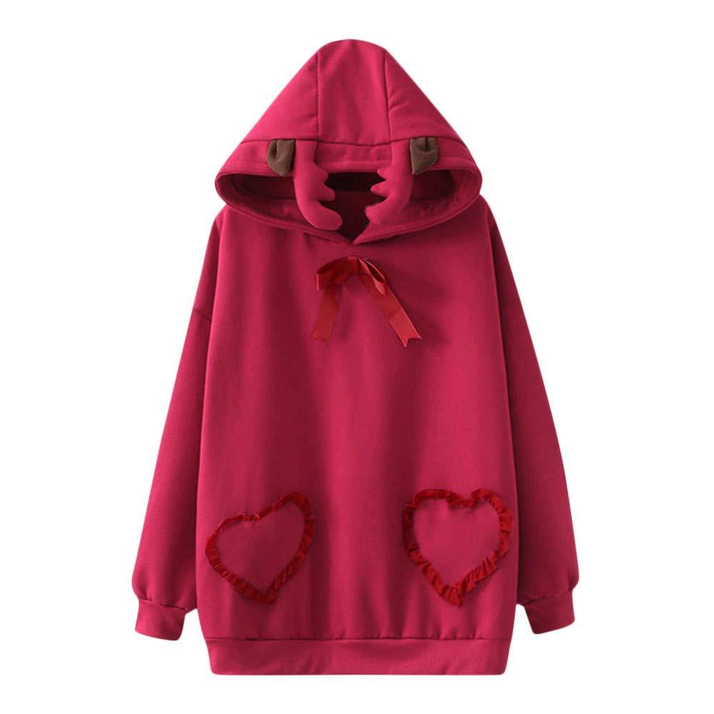 ELECTRI Sweatshirt Noë l Wapiti l'amour Femme Coat Automne Hiver Noë L Couleur Unie Manches Longues Capuche Top Dé contracté e Sweater Pullover Blouse Shirts