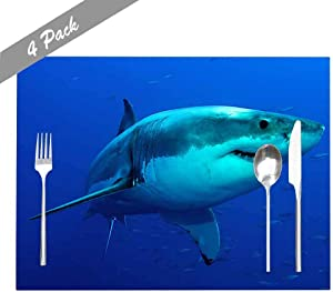 Capsceoll Placemats Heat-Resistant Washable Dining Table Placemat 18X12 Inches Set of 4 Placemats, Great White Shark Posing in The Deep Blue Water for Holiday Kids and Kitchen Table Mats