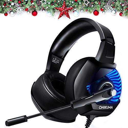 (ONIKUMA II Gaming Headset for PS4, Xbox One, PC, Nintendo Switch, Over-Ear Noise Cancelling Headphones with Soft Memory Earmuffs, 7.1 Surround Sound, Volume/Mic Control, LED Light for Laptop Mac)