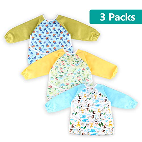 3 Pcs Long Sleeved Bib Set | Baby Waterproof Bibs with Pocket Bundle | Toddler Bib with Sleeves and Crumb Catcher | Play Smock Apron - Pack of 3 | 12-36 Months (1-3 Years Old)