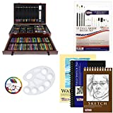 US Art Supply 142 Piece Mega Art Creativity Drawing Set in Wood Case with BONUS 20 additional pieces