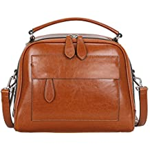 Heshe Vintage Leather Shoulder Handbags for Womens and Ladies Tote Purse Cross-body Bags