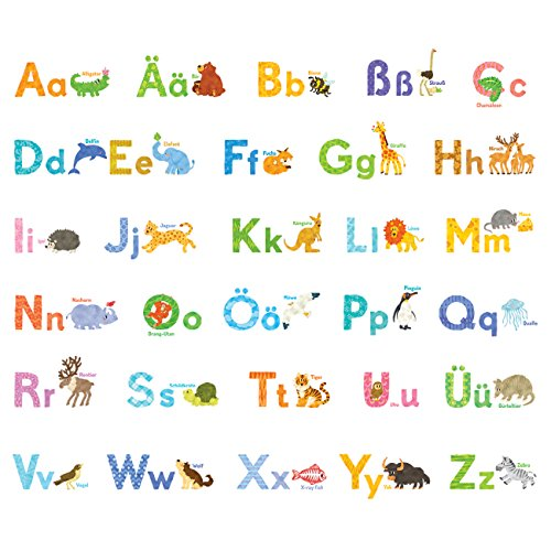 Decowall DW-1808 Watercolour Animal German Alphabet Kids Wall Stickers Wall Decals Peel and Stick Removable Wall Stickers for Kids Nursery Bedroom Living Room by Decowall