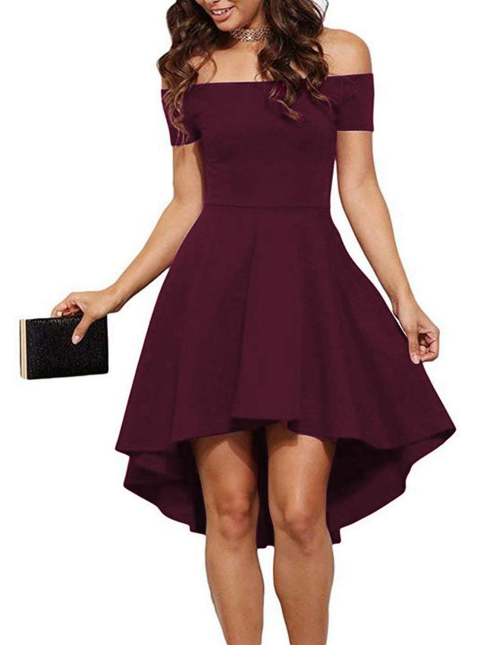 f4ea723f3d6 Sarin Mathews Womens Off The Shoulder Short Sleeve High Low Cocktail Skater  Dress product image