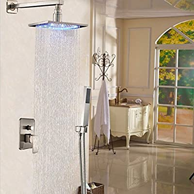 "GOWE 12"" Square Stainless Steel Rainfall Shower Faucet Set Wall Mount LED Light Shower Mixer Taps with Handheld Shower"