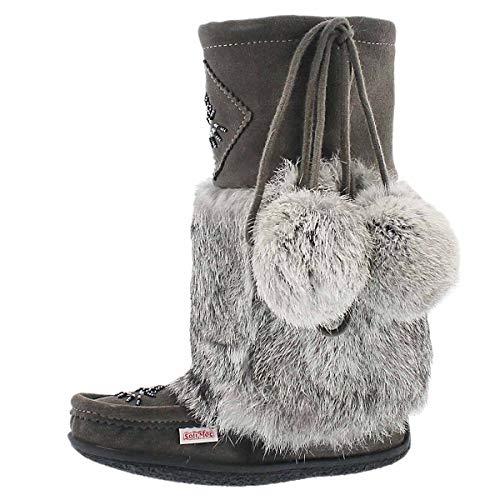 SoftMoc Women's Niska 3 Rabbit Fur Mukluk Grey 9 M US (Rabbit Fur Mukluk)