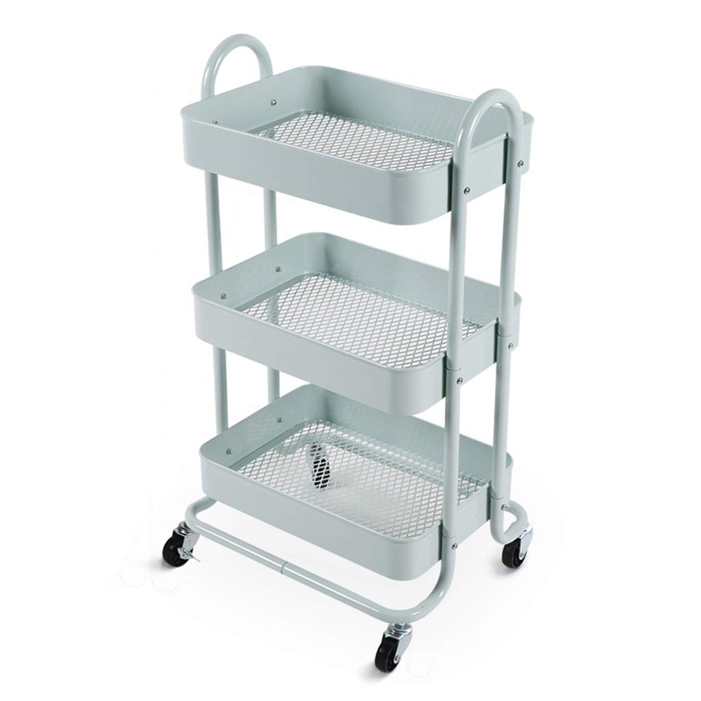 Green 3-Layer with Casters Removable Kitchen Rack Trolley Living Room Storage Rack Serving Carts