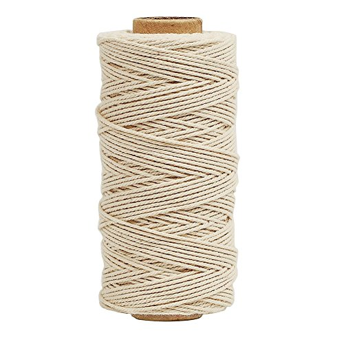 Tenn Well Bakers Twine, 3Ply 109Yard Kitchen Cotton Twine Food Safe Cooking String Perfect for Trussing and Tying Poultry Meat Making Sausage DIY Crafts and Decoration(White) (String Thick)