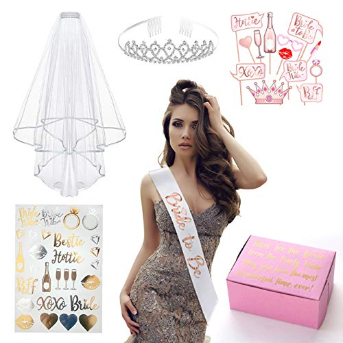 Rose Gold Pink Bride to Be Decoration Kit - Bachelorette Party, Bridal Shower Supplies: Bride to Be Sash, Rhinestone Tiara Crown, Veil, Photo Booth Props and Bride Tribe Gold & Silver Flash Tattoos -