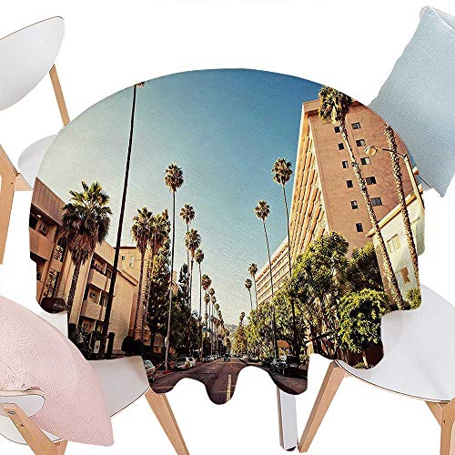 (Cheery-Home Polyester Tablecloth Urban A Street in Beverly Hills California Palm Trees Houses Famous City Photo ES Light Blue Peach Green. Suitable All Occasions,(69