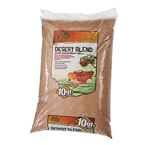 Zilla Reptile Terrarium Bedding Substrate Desert Blend Walnut, 10-Qt. (Desert Blend)