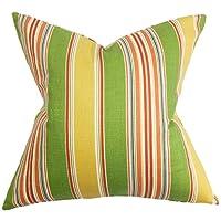 "The Pillow Collection QUEEN-D-21004-MULTI-C95L5 Green Yellow Hollis Stripes Bedding Sham, Queen/20"" x 30"""