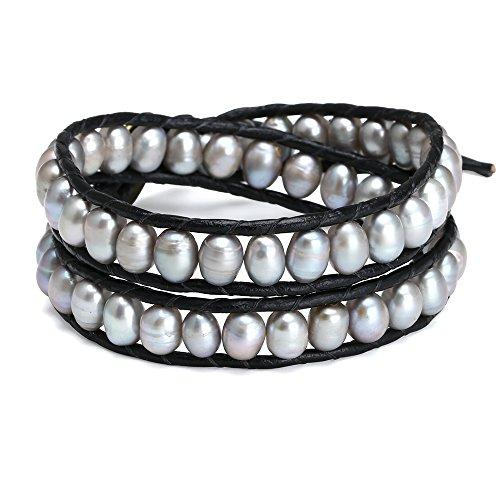 Pearl Beaded Wrap Bracelet - 6