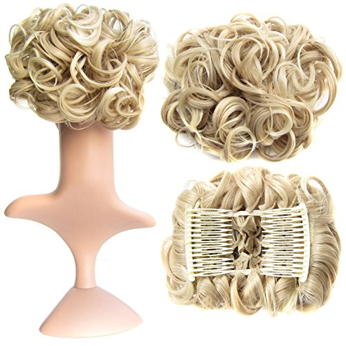 SWACC Short Messy Curly Dish Hair Bun Extension Easy Stretch hair Combs Clip in Ponytail Extension Scrunchie Chignon Tray Ponytail Hairpieces (Beige/Blonde Mixed-24T613#) (Cute Updo Hairstyles For Short Curly Hair)