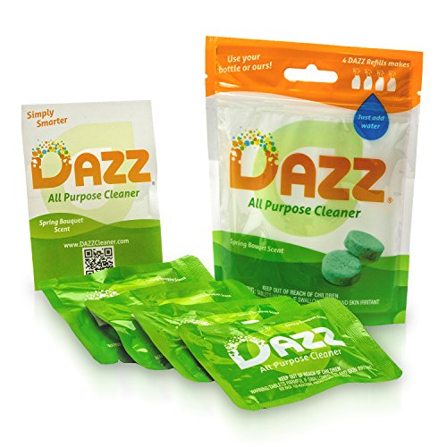 DAZZ Natural Cleaning Tablets - All Purpose Cleaner Refill Pack - Makes (4) 32oz Bottles - Just Add Water